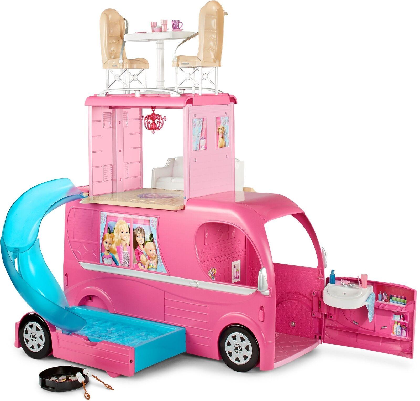 Barbie Pop-Up Camper Van trasformando veicolo con accessori Regno Unito GRATIS NUOVO