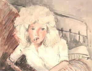 Junges Frau Die Zigarette Orig Aquarell Um 1945 Anonym Galerie Vialetay Relieving Rheumatism And Cold