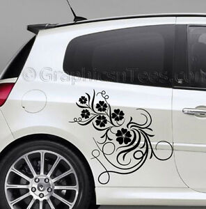 clio custom vinyl graphic decals 2 x flower car stickers ebay. Black Bedroom Furniture Sets. Home Design Ideas