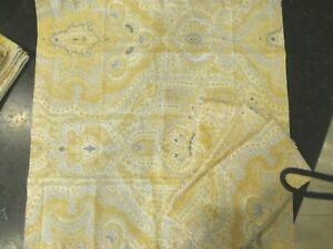 "SET OF 4 Pottery Barn Viola Yellow Paisley Napkins 20/"" sq Linen Cotton CLEAN"