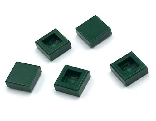 Lego 5 New Dark Green Tiles 1 x 1 with Groove Pieces