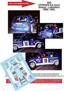 DECALS 1//43 REF 0518 CITROEN AX SPORT MONTAGNE RALLYE MONTE CARLO 1988 RALLY WRC