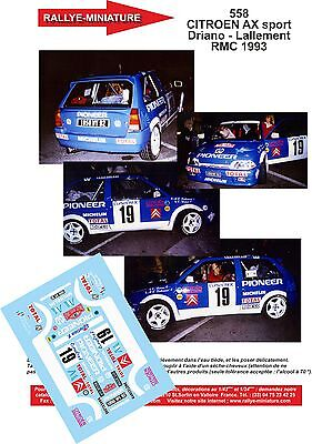 DECALS 1//32 REF 558 CITROEN AX SPORT DRIANO RALLYE MONTE CARLO 1993 RALLY WRC