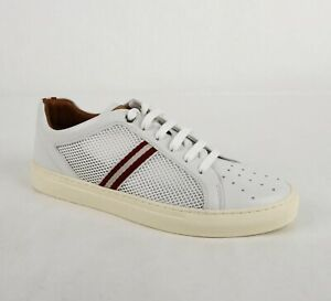 475-Bally-Men-039-s-Leather-and-Mesh-Sneaker-with-Red-White-Web-Details-US-9D-HERK