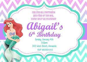 Image Is Loading Little Mermaid Princess Ariel Birthday Party Invitation
