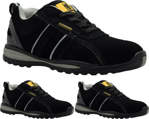 NEW Mens Leather Safety Boots Work Steel Toe Cap Black Trainers Shoes Sizes