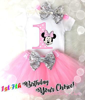 First 1st 7th Birthday Girl Tutu Outfit Headband Rainbow Minnie Mouse Custom