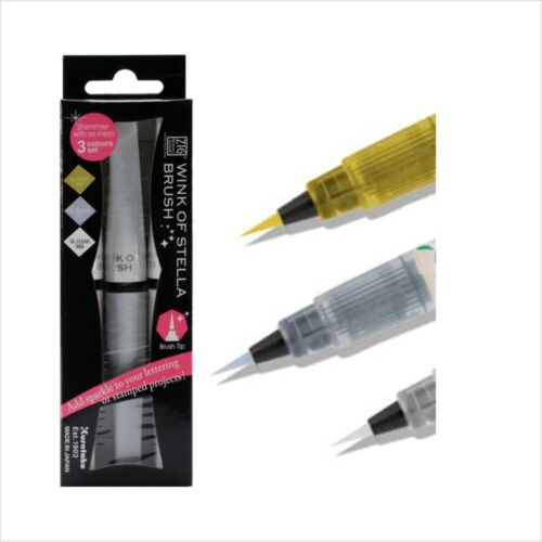 Glitter Pens Wink of Stella 3PK Gold Silver Clear Marker Kuretake Zig Brush Tip