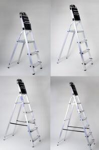 leiter aluleiter alu haushaltsleite stufenleiter 3 6 stufen werkzeugtasche ebay. Black Bedroom Furniture Sets. Home Design Ideas