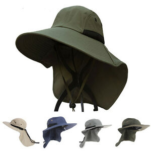 Mens wide brim outdoor sun neck protection fishing flap hat for Best fishing hat