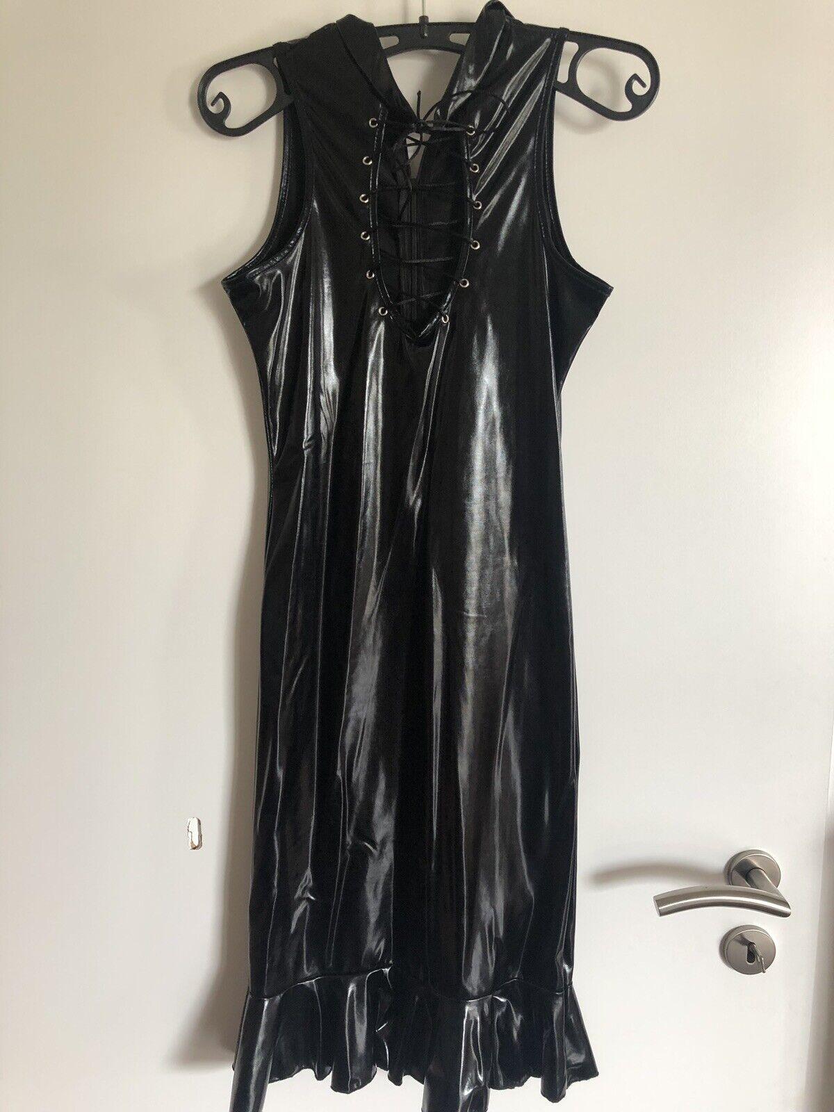 Wetlook Schwarz 2 Kleid Schnürung Gr M 38