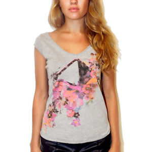 £50 V T Ibiza Heather shirt Top Amnesia Rrp neck Grey Official Flowers Women's Ba71Rw