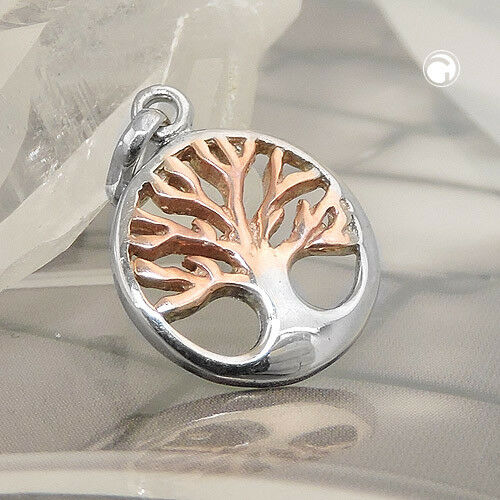 925 Sterling plata colgante 13x12mm árbol de la vida rotvergoldet rhodiniert