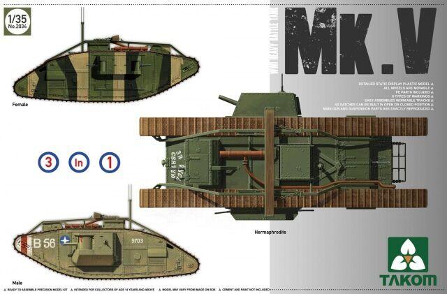Char Britannique MARK V, 1918 - Kit '3 '3 '3 en 1' TAKOM INTERNATIONAL 1 35 n° 2034 dd926f