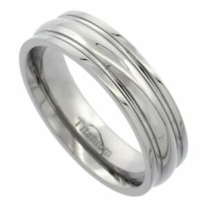 Men-039-s-Comfort-Fit-Titanium-Size-12-Wedding-Band-6mm-Highly-Polished-C34