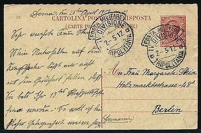 PüNktlich Tripolitanien Libyen 1912 Antwort-postkarte Italienische Militärpost Berlin/15