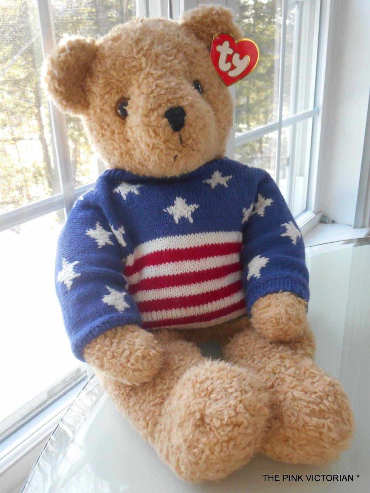 TY INC LARGE CURLY STARS & STRIPES FOREVER TEDDY BEAR, 26 T, SOOOOO SOFT&CUDDLY