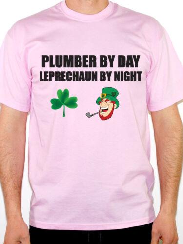 Tradesman Novelty Themed Mens T-Shirt Plumbing PLUMBER BY DAY LEPRECHAUN