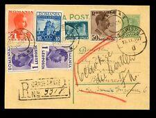 ROMANIA REGISTERED POSTCARD STATIONERY 1937...6 STAMPS UPRATING