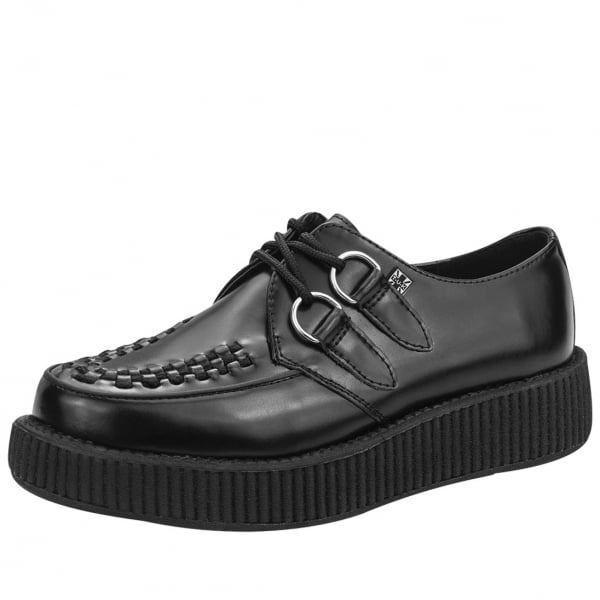 T.U.K. neri in pelle interlacciare il D-Ring Viva bassa suola Creeper Sneaker Scarpe