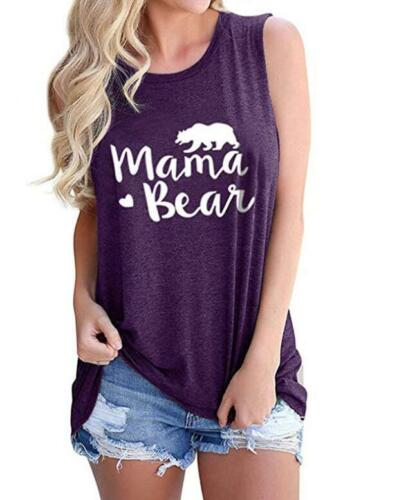 Woman Sleeveless Vest Mama Bear Letter Printed O Neck Casual Tank S-2XL