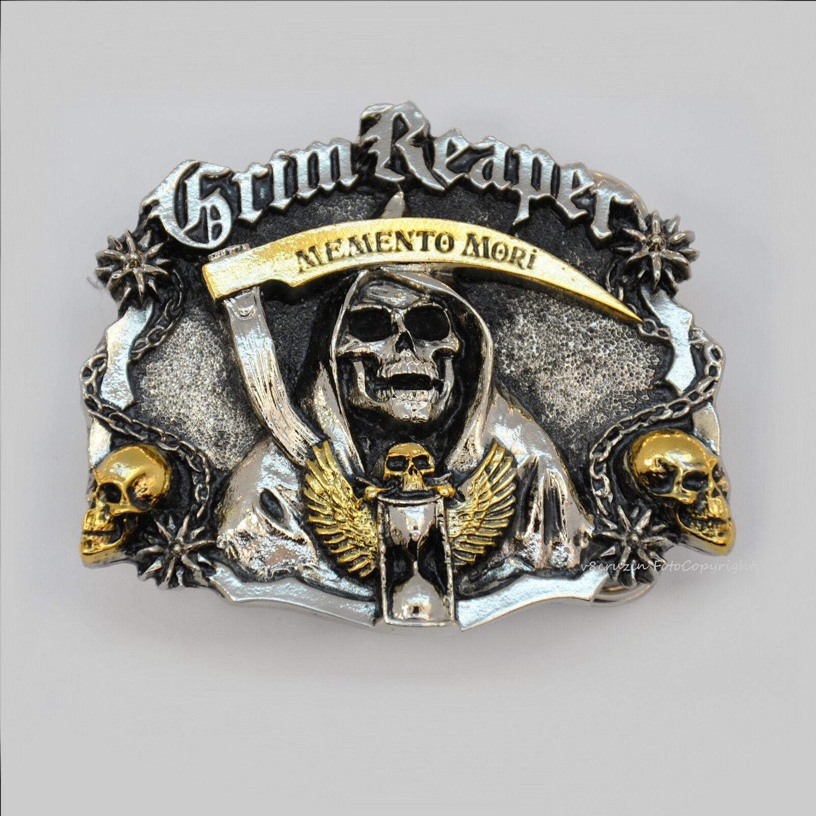 Totenkopf Skull Gürtelschnalle Reaper Heavy Metal Biker Belt Buckle *149