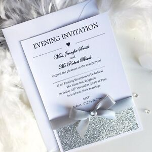Image Is Loading Wedding Evening Invitations Handmade Personalised Glamour Postcard Glitter