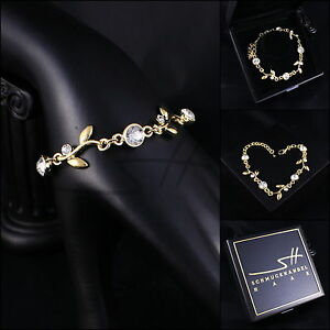 Armband, Bracelet *blumenranke* Armreif, Gelbgold Pl, Swarovski Elements, +etui