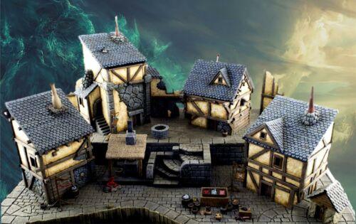 WWG Fantasy Village Set of 4 Houses 28mm Medieval Wargame Terrain Scenery
