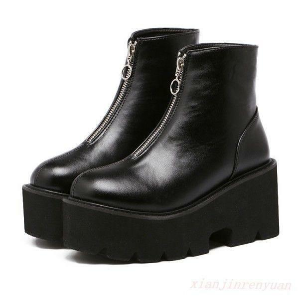 Motorcycle Punk Gothic Women Platform Front Zip Pull On Combat shoes Ankle Boots