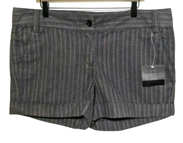 NWT Calvin Klein Jeans Cuffed Mini Shorts 16 Dark Gray Striped Women's 4