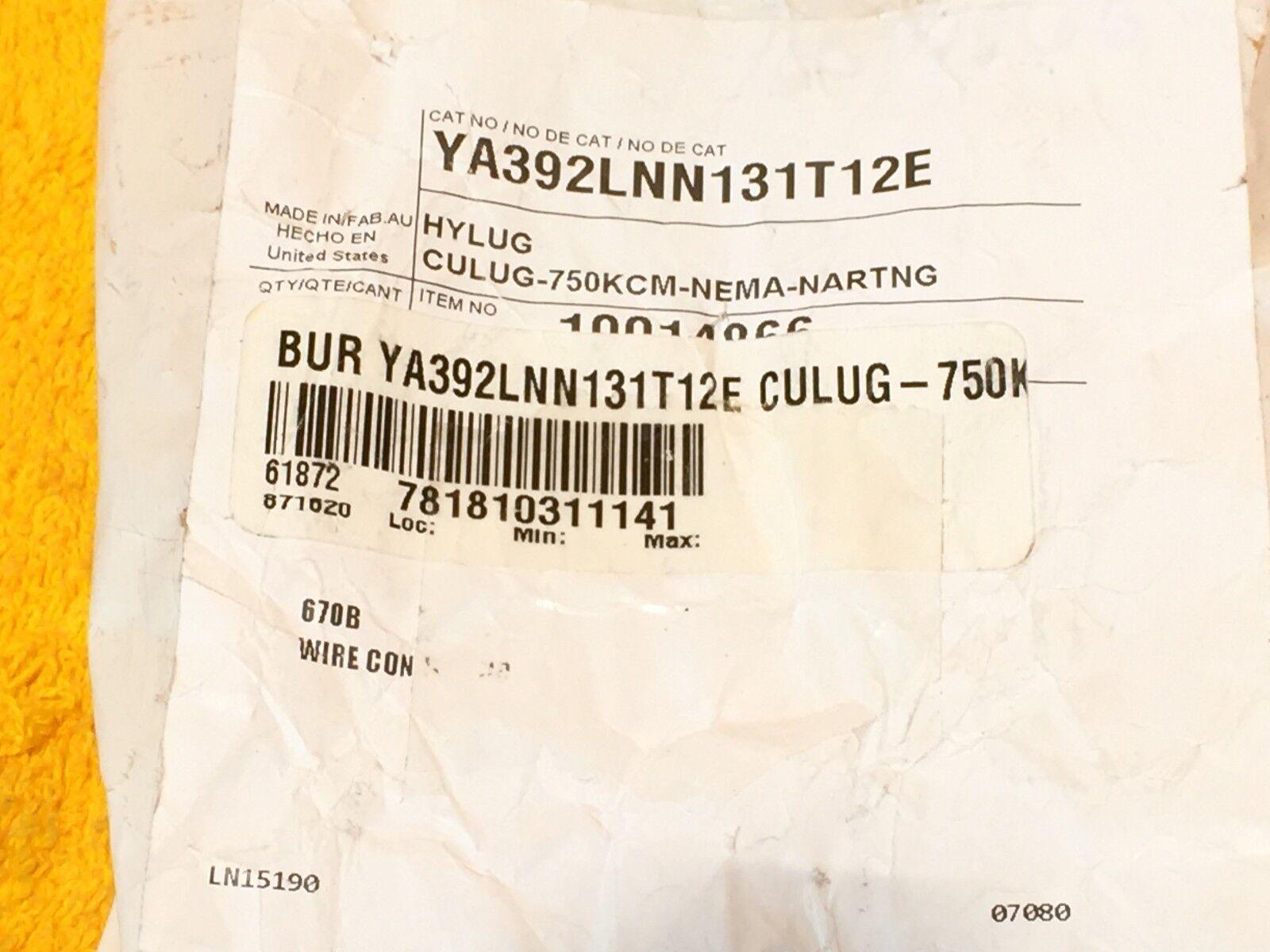 New burndy ya392lnn131t12e 750 mcm kcmil short barrel 2 hole new burndy ya392lnn131t12e 750 mcm kcmil short barrel 2 hole compression lug keyboard keysfo Images