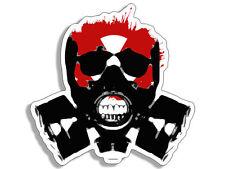 "4"" biohazard skull in gas mask car sticker decal usa made"