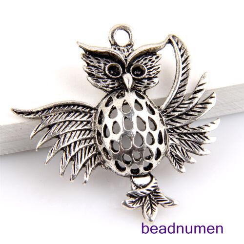 5pcs Zinc Alloy owls pendants 36x35mm 1A1381