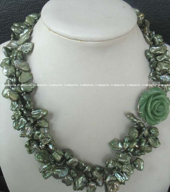 "green baroque freshwater pearl and jade flower clasp 18.5"" necklace wholesale"