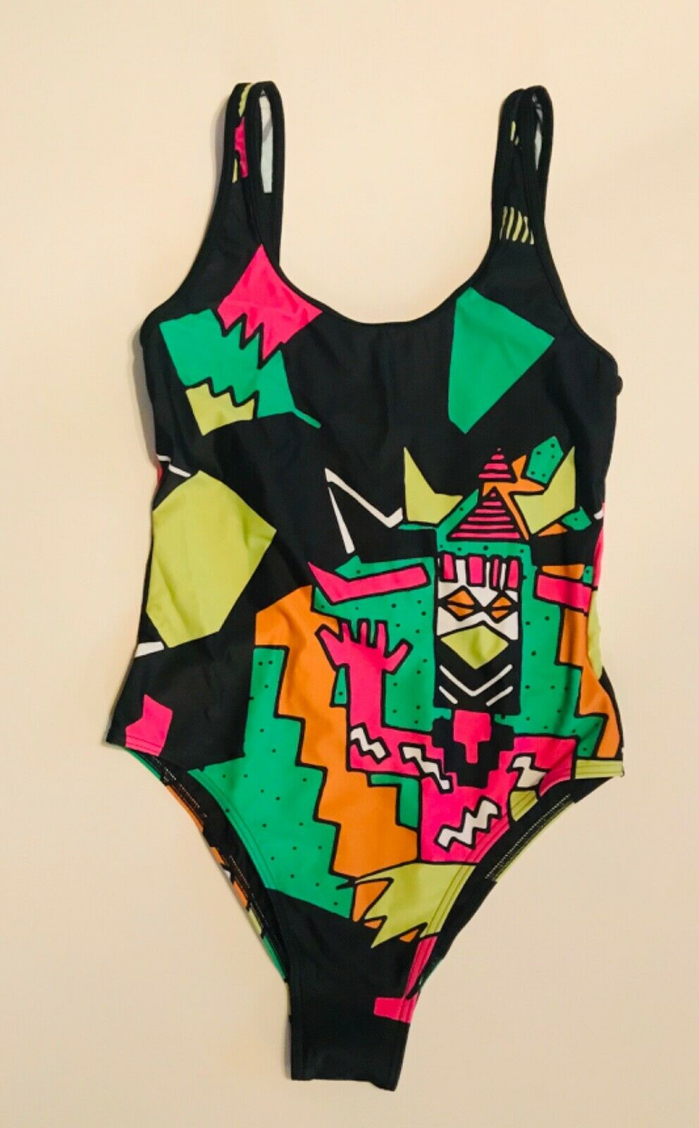 Women's Adidas Multicolor Comic Print Stretch One-Piece Bodysuit Swimsuit L