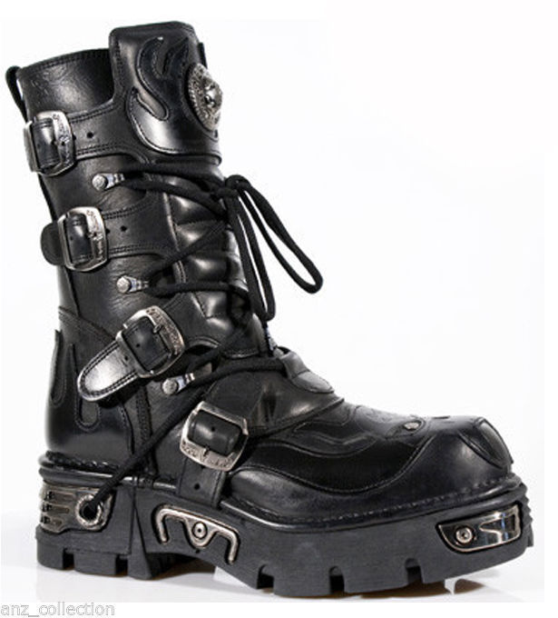 New Rock New Rock 107-S3 Black Skull Devil Black Leather Biker Goth Rock Boots