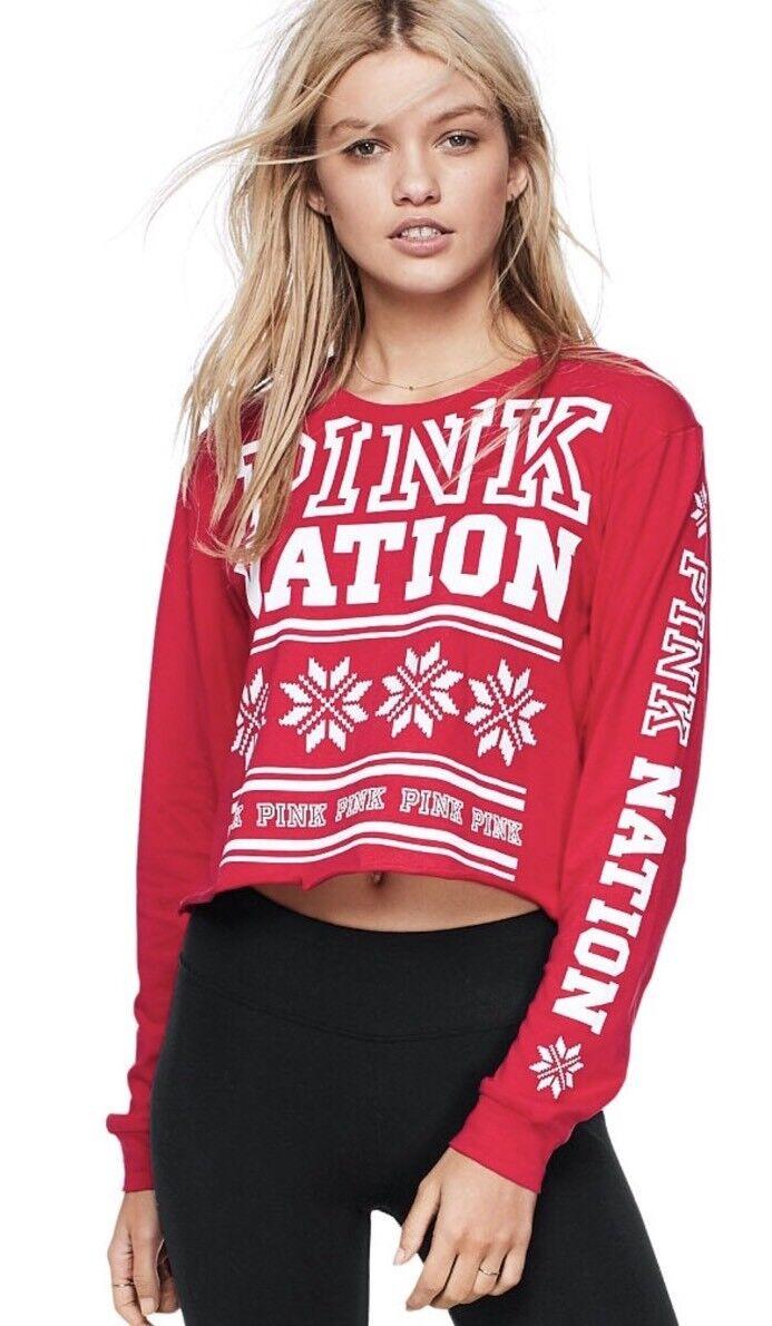 6011fe91821 Womens Victoria's Secret Nation L Crop Top Shirt Size Medium Pink ...