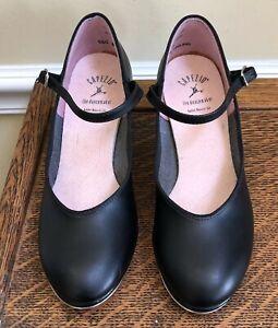 Girls-Capezio-Black-Leather-Ankle-Strap-Tap-Shoes-Size-5m