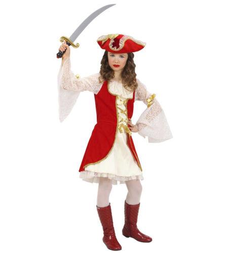 MÄDCHEN PIRATEN KAPITÄN KOSTÜM # Karneval Kinder Mittelalter Piratin Kleid /& Hut