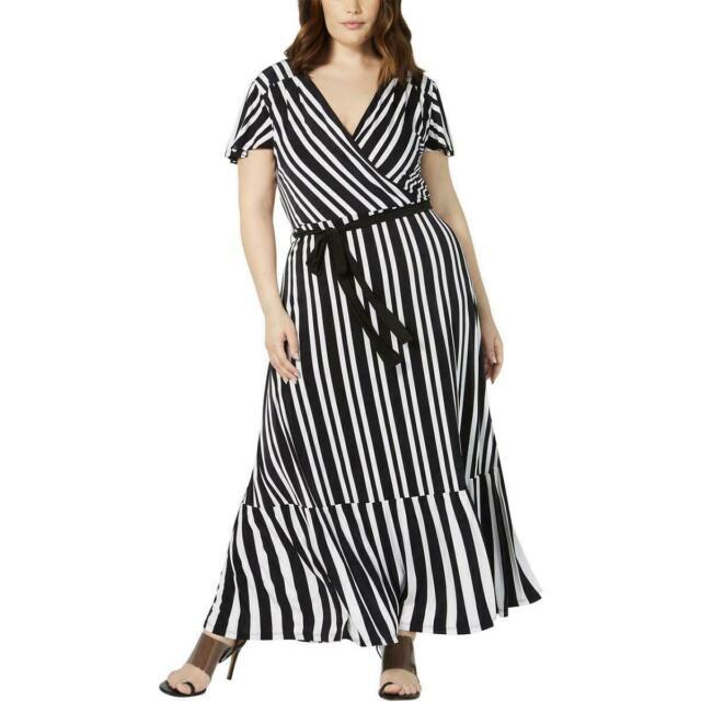 $110 Value! INC Inter'l Concepts 3X Black/White Striped Stretch Knit Maxi Dress