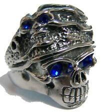 CRYSTAL BLUE EYES SKULL HEAD HAT STAINLESS STEEL RING size 7 silver S-533 biker