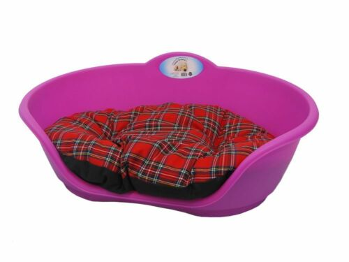 Grande De Plástico Rosa Fucsia Cama Para Mascotas Con Rojo Tartan Cojín Perro Gato Dormir cesta