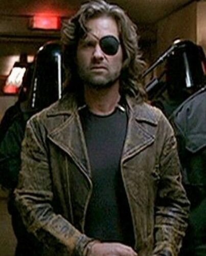 Escape from LA Kurt Russell Snake Plissken Distressed Brown Leather Jacket