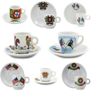 Portugal Themed Set Of 6 Espresso Cups and Saucers With Gift Box Various Designs