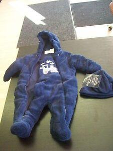 1b21adc2fb22 Blue Miniwear Baby Bunting 3-6 mo  w  Faded Glory Hat Mittens ...