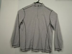 Mens-Orvis-L-Gray-1-4-Zip-Pullover-Mock-Neck-Stretch-Long-Sleeve-Casting-Shirt