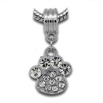 Silver Dog Cat Animal Paw Dangle Charms Bead Will Fit European Bracelets