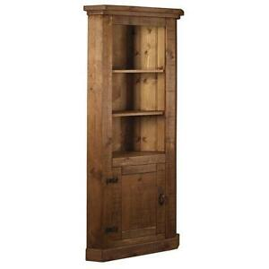 Image Is Loading Solid Wood Tall Corner Cupboard Cabinet Unit Chunky