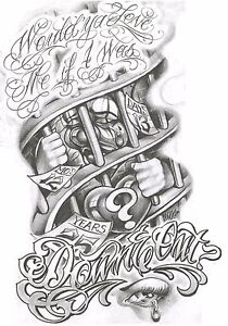 Free Vector Vintage Chicano Style Tattoo Template